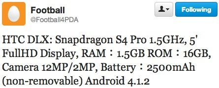 HTC DLX specs purportedly slip, stuff Snapdragon S4 Pro and 12MP camera into a 5inch frame