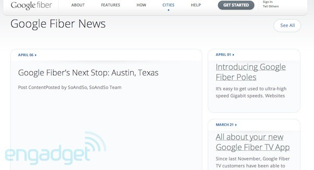 Rumors suggest Austin, Texas is next up for a Google Fiber rollout update so does its website