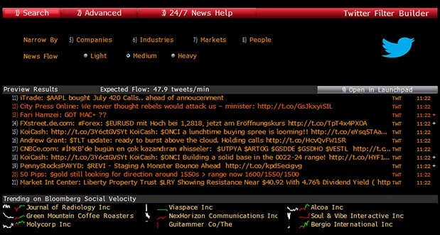 Bloomberg terminals now pull in realtime Twitter feeds