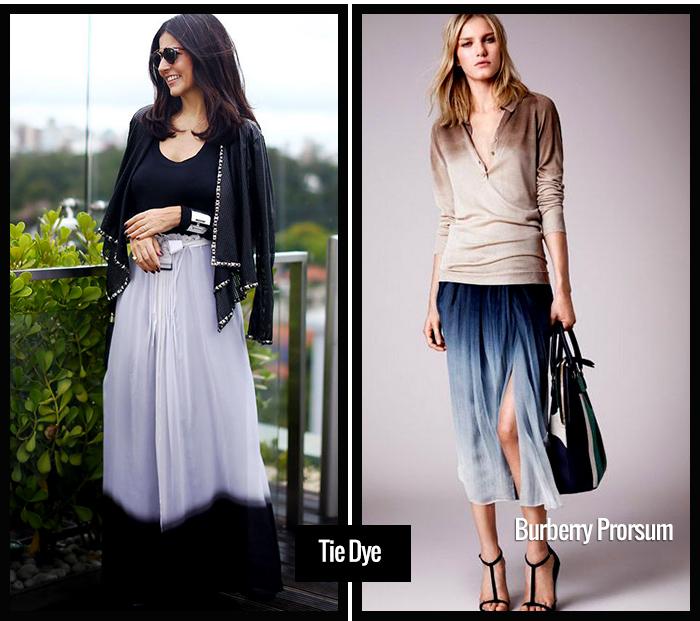 Tie Dye é uma tendência forte, que deve ser usada com personalidade. Para o meu estilo pessoal, gosto de tons como preto, branco e marinho, combinados sempre com cores neutras.