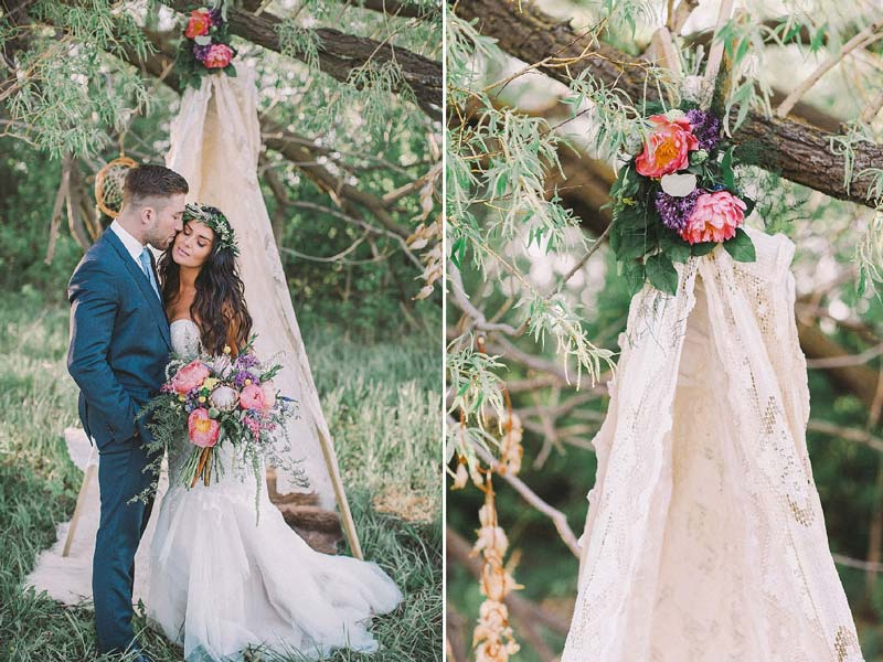 Casamento ao ar livre: Inspirações para decorar o altar da cerimônia - tenda de renda