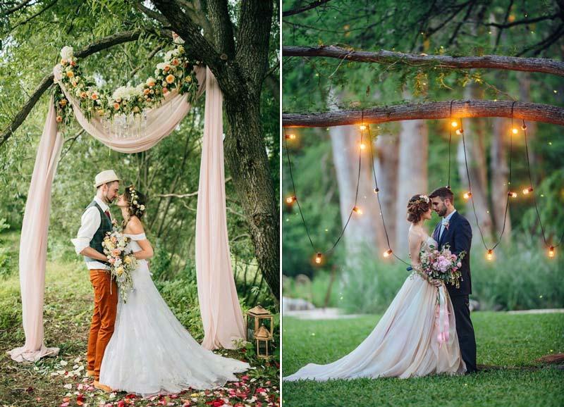 Casamento ao ar livre: Inspirações para decorar o altar da cerimônia - tecido e varal de luz