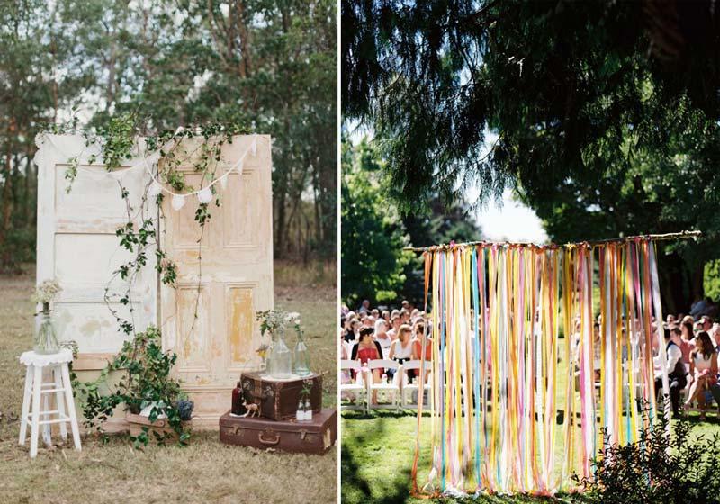 Casamento ao ar livre: Inspirações para decorar o altar da cerimônia - cetim