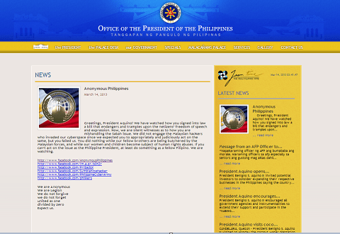 anonymous philippines hacked presidents website march 14 2013 Anonymous Philippines hacked Ph. Presidents Website