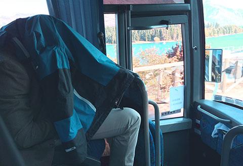 Press editing on bus, royal tour,