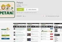 Tampilan Aplikasi Android Petani via Google Apps