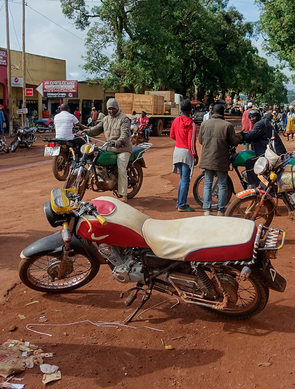 Motorcycle taxis are common throughout Cameroon. These motos can carry a surprising amount of things on them, including an entire other motorcycle.