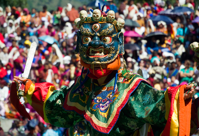 The Dance of the Terrifying Deities is one of the main dances of the Thimphu Teschu in Bhutan. Teschus are major religious festivals that take place around the country that involved masked dances performed by monks who enter full meditation during the performance.