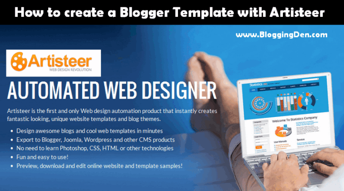 how to create a blogger template with Artisteer