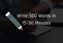write 500 words in 15 to 30 minutes