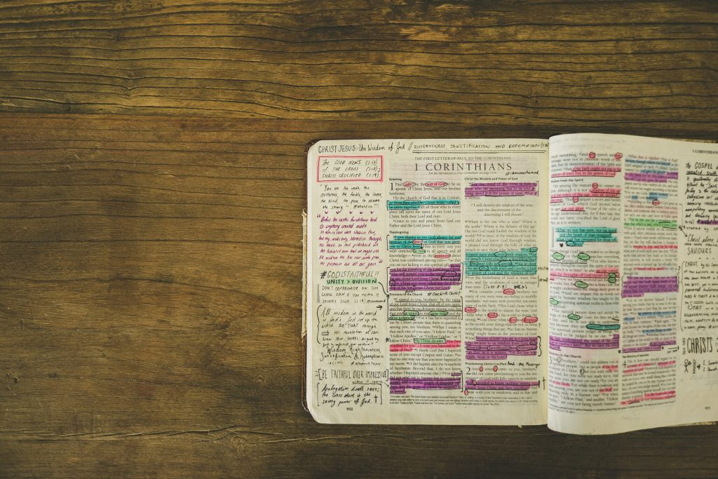 Highlighted passages in 1 Corinthians. Photo courtesy of Lightstock