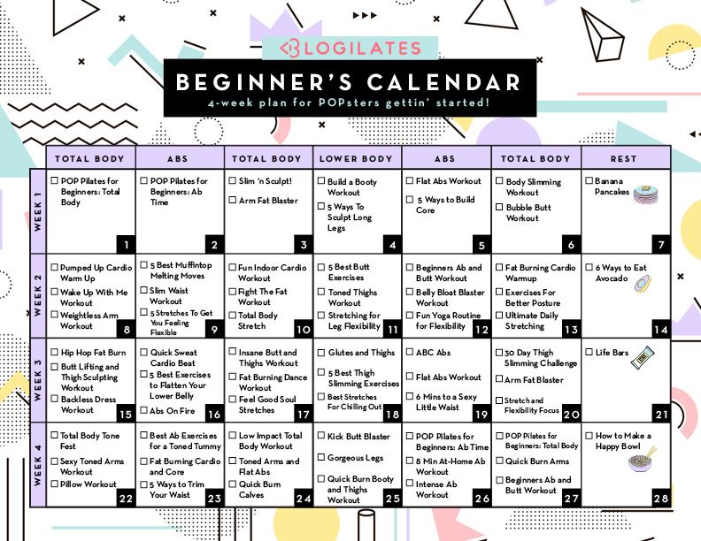 A 28-Day Workout Calendar for Beginners! \u2013 Blogilates
