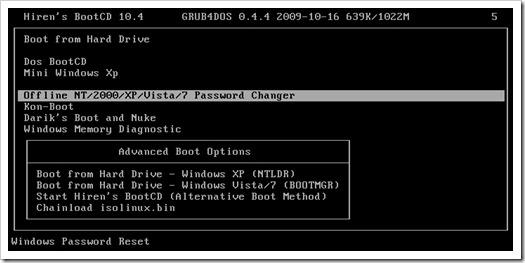 Arrancar computadora desde Hiren's Boot CD
