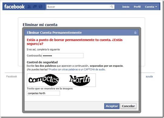 Suspender cuenta del Facebook