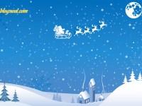 Fond d'écran de sapins de Noël et du Père Noël