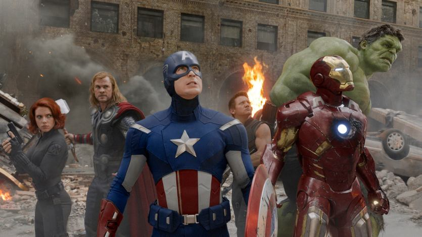 "(L to R) Actors Scarlett Johansson, Chris Hemsworth, Chris Evans, Jeremy Renner, Robert Downey Jr. and Mark Ruffalo are shown in a scene from ""The Avengers"" in this publicity photo released to Reuters May 1, 2012. Hollywood's summer season kicks off on May 4, 2012; as with recent years, the four-month period is dominated by superheroes, sequels and franchise reboots featuring epic battles between good and evil. With the summer season generating as much as 40 percent of the annual domestic box office, the pressure is on to lure core audiences of mostly young men to theaters, and superhero films, sequels and reboots most often do exactly that. Movies based on characters and stories that are well-known, such as those in comic books, or games, film sequels, remakes and best-selling books reach audiences of built-in fans that typically turn out in droves. Book-to-film titles already have helped push movie ticket sales up 14 percent this year to $3.3 billion. Theater attendance is up 17 percent giving box office watchers reason to think the summer will top last year's $4.4 billion in seasonal revenues. REUTERS/Marvel Studios/Handout (UNITED STATES - Tags: ENTERTAINMENT) NO SALES. NO ARCHIVES. FOR EDITORIAL USE ONLY. NOT FOR SALE FOR MARKETING OR ADVERTISING CAMPAIGNS. THIS IMAGE HAS BEEN SUPPLIED BY A THIRD PARTY. IT IS DISTRIBUTED, EXACTLY AS RECEIVED BY REUTERS, AS A SERVICE TO CLIENTS"
