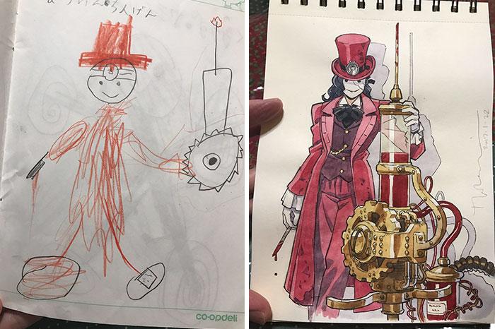 Il figlio disegna scarabocchi e il padre li trasforma in magnifici disegni