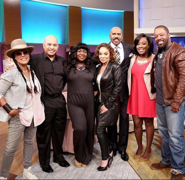 Steve Harvey pictured with the cast of 90's show, A Different World