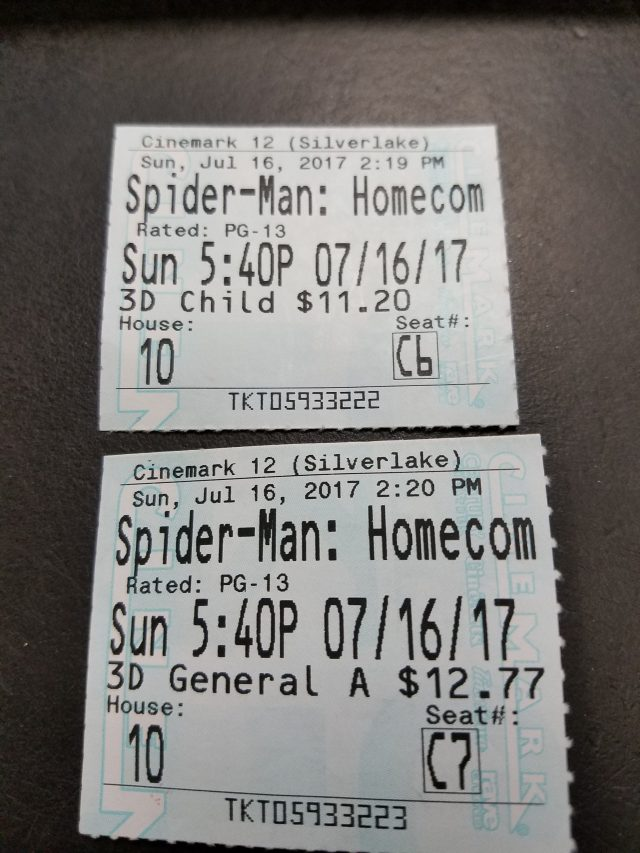 Our Tickets for Spider-Man: Homecoming Movie in 3D