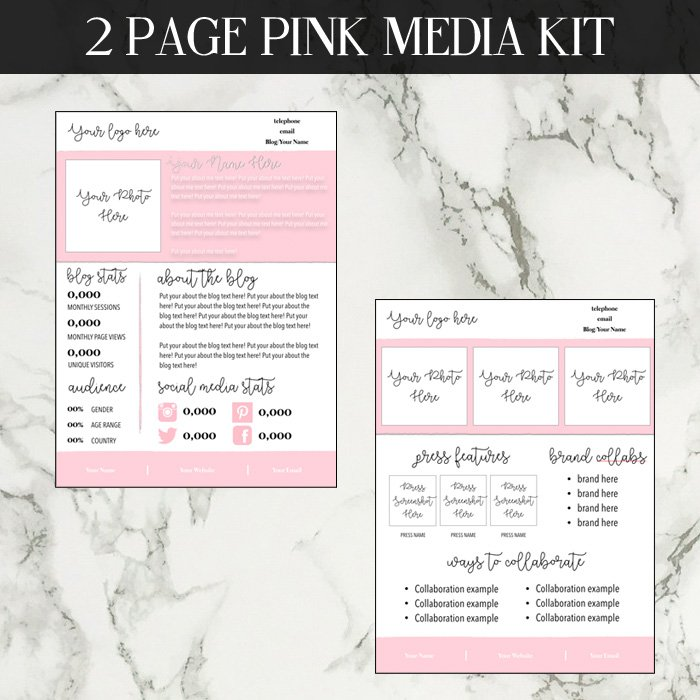 Pink Media Kit Template