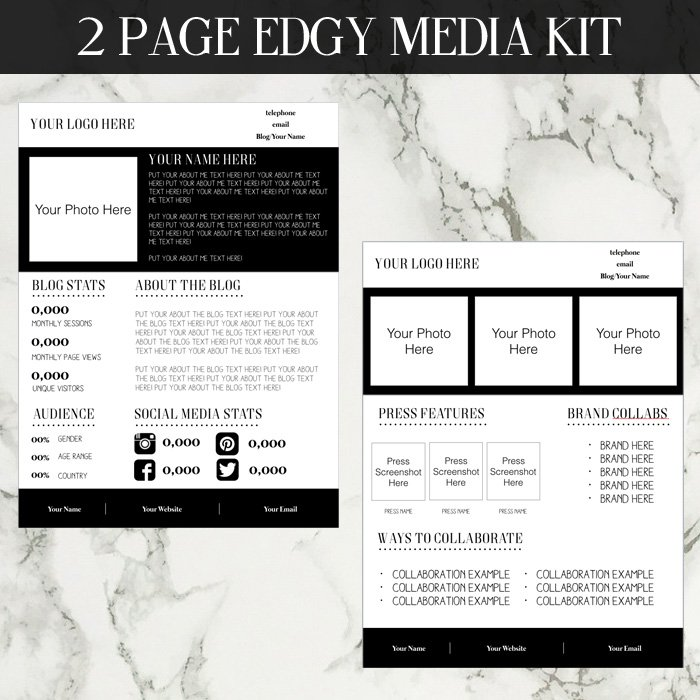 Edgy Media Kit Template - media kit template