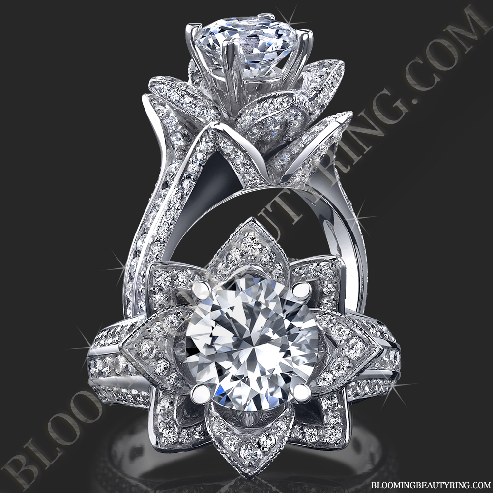 flower shaped wedding rings flower wedding ring Gallery Images And Information Lotus Flower Halo Engagement Ring