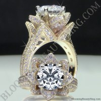 Yellow Gold Large Hand Engraved Blooming Beauty Flower ...