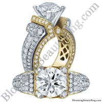 Two Toned Scrolling Tiffany Round Diamond Engagement Ring ...