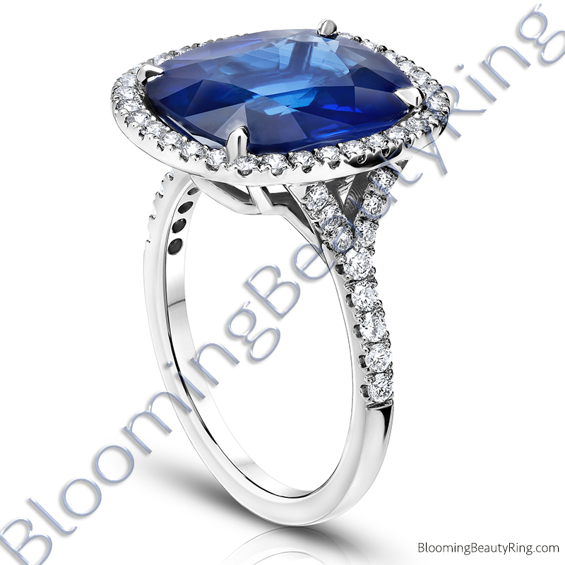 794ctw Halo Split Shank Blue Cushion Sapphire And