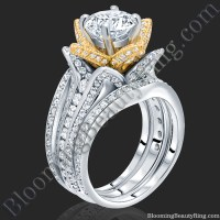2.38 ctw. Double Band Two Toned White and Yellow Gold ...