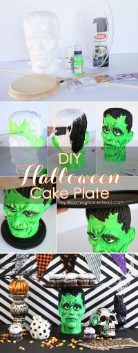 Halloween Cake Plate & Haunted Night Halloween Pumpkin ...