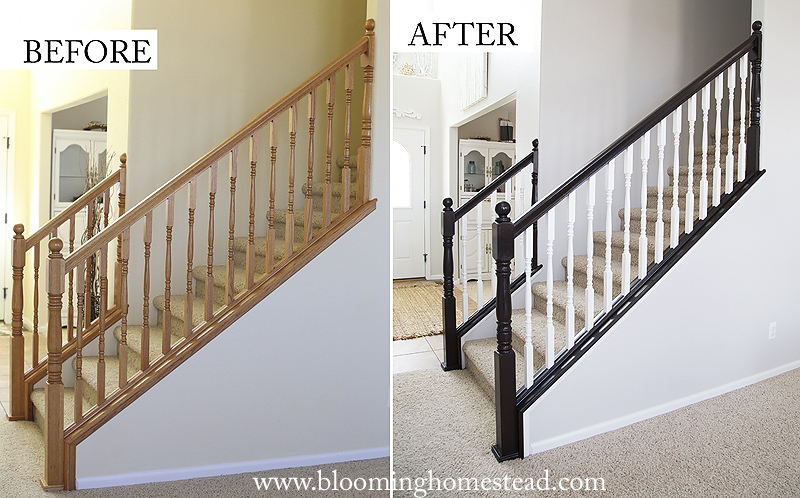 Diy Stair Railing Makeover Blooming Homestead