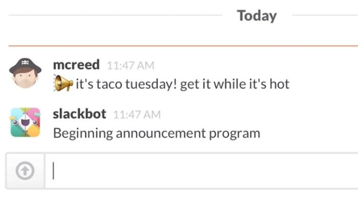 Slack bot chat