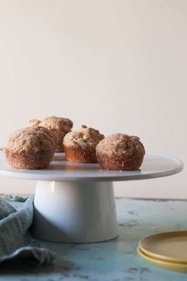 Cinnamon Sugar Oat Muffins. Nutmeg-kissed oat flour muffins rolled in cinnamon and sugar. Like donuts, without the frying hassle. So good. Gluten free. From Blossom to Stem | Because Delicious | www.blossomtostem.net