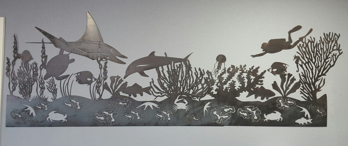 Sea life mural metal wall art blue collar welding llc - Lecteur blue ray mural ...