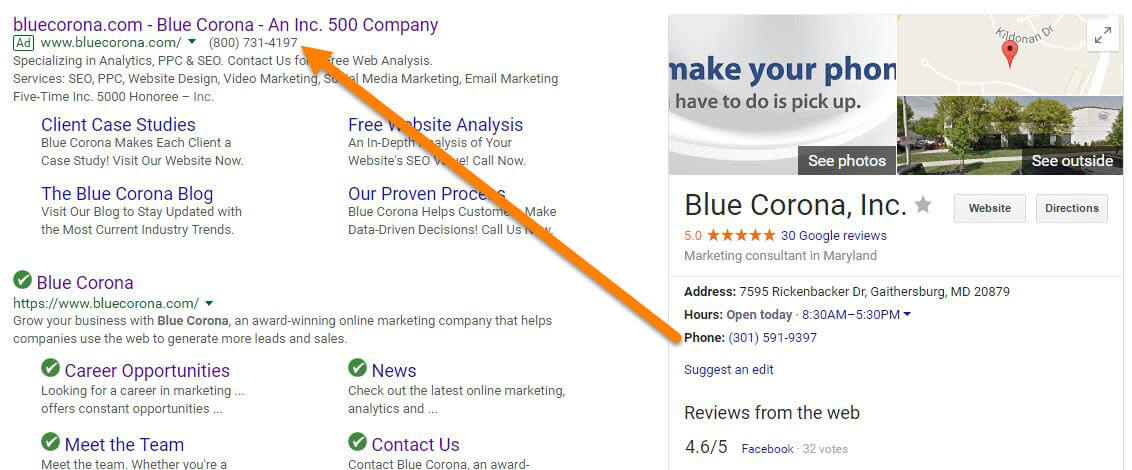 AdWords Location Extension Phone Numbers in Google My Business
