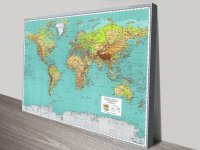 Teal Green Physical World Map Canvas Wall Art Sydney Australia