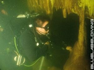 Diver inside caves Khao Sok