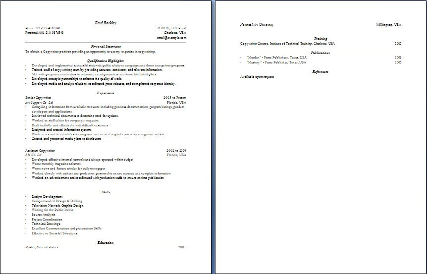 Copywriter Resume - Blue Layouts