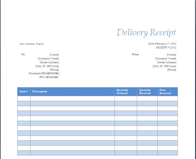 Delivery Receipt Template - Blue Layouts