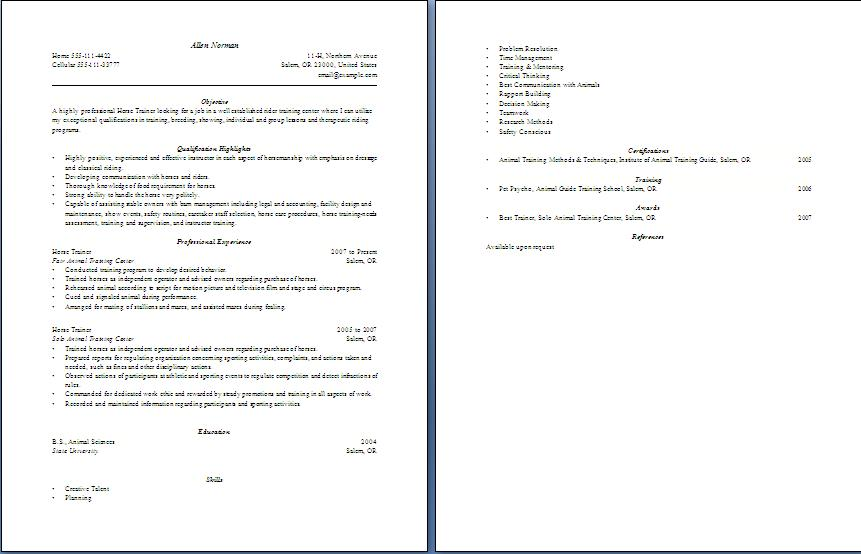 resume horse trainer example