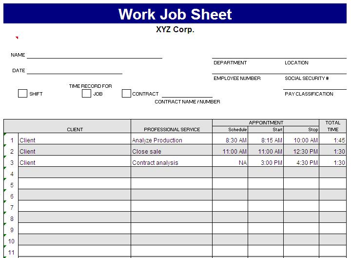 Job Sheet Template - Blue Layouts - excel job sheet template