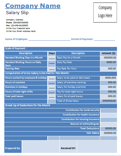 Doc820531 Payslip Template Employee Payslip Template for MS – Microsoft Payslip Template