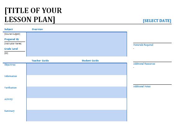 Garde 1 Lesson Plan Template