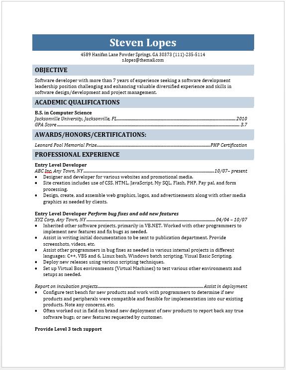 entry level web developer resume
