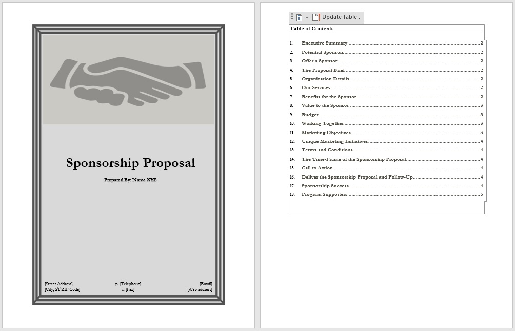 11 Free Sponsorship Proposal Templates - Blue Layouts - sponsorship proposal template