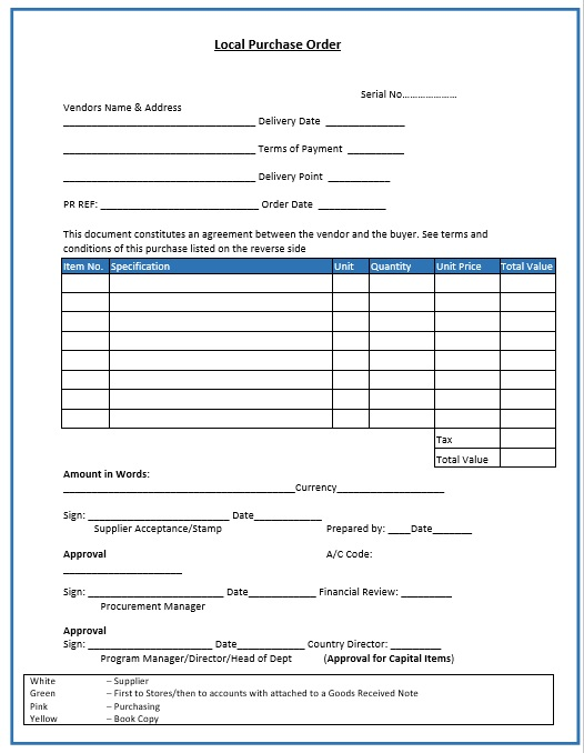 15 Free Purchase Order Templates - Blue Layouts