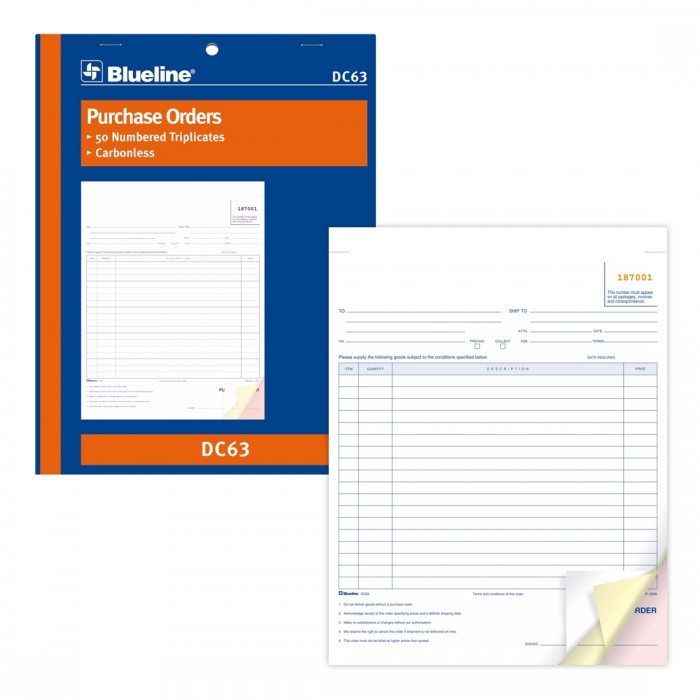 Purchase Orders Book - Blueline