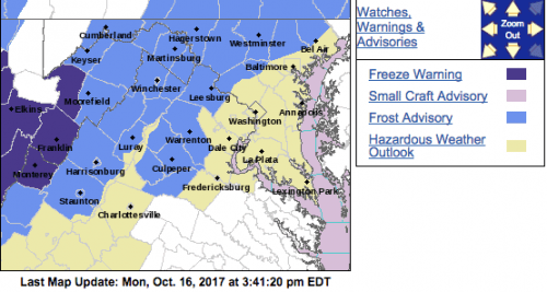 Frost Advisory For Some Counties Just West And East Of BRP & Skyline Drive (EXPIRED)