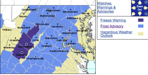Frost Advisory : For Most Of The Area From 1AM Until 9AM Wednesday (EXPIRED)